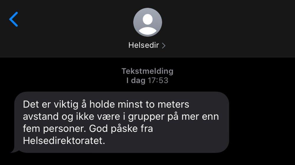 Haugesunds Avis Helsedirektoratet Med Paske Sms Til Alle