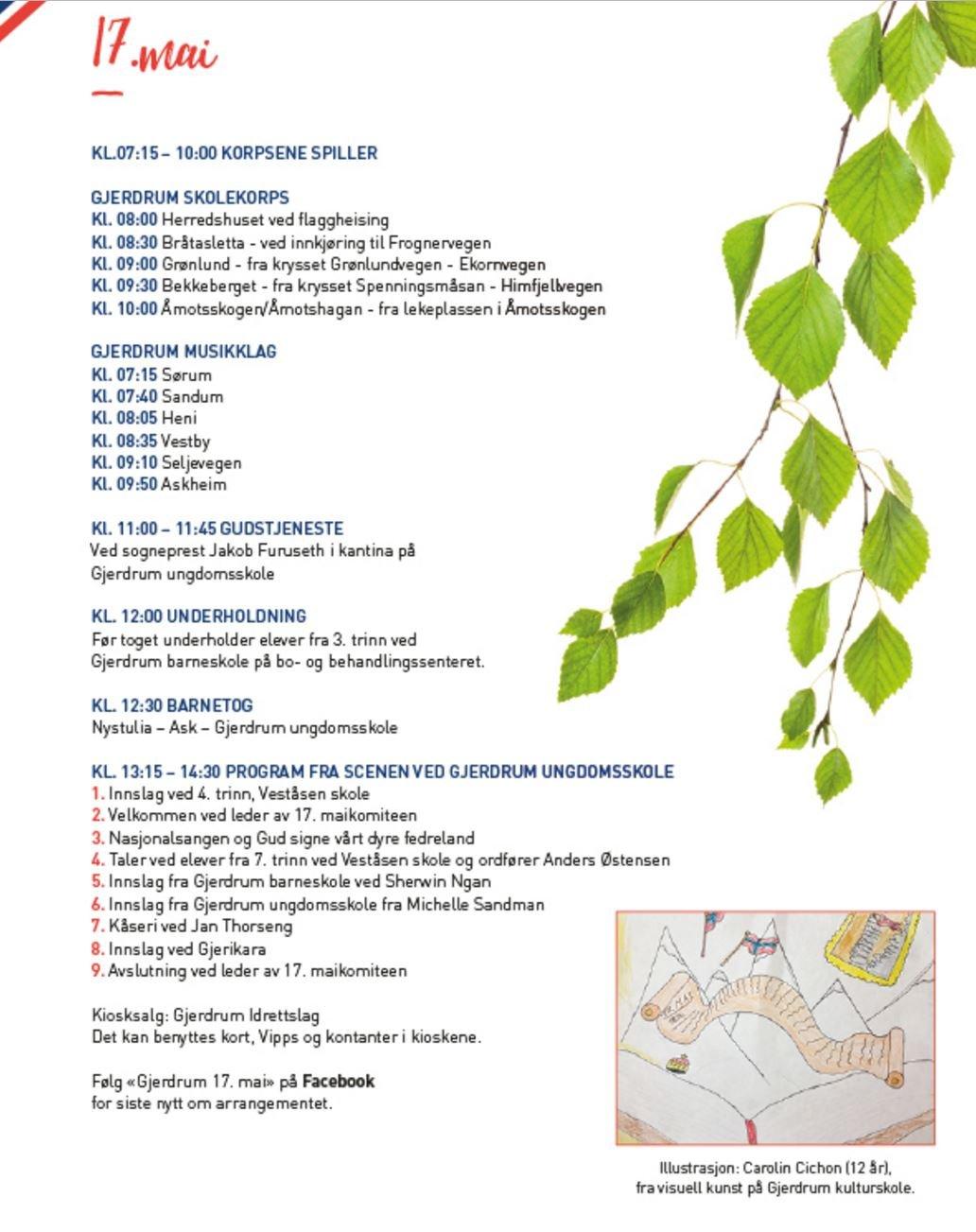 Romerikes Blad Programmet For 17 Mai Feiringen I Gjerdrum