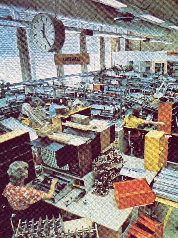 ENDELIG I GANG: Fargetv-produksjon i Sandvika 1976, dessverre  fem år etter resten av Europa.
