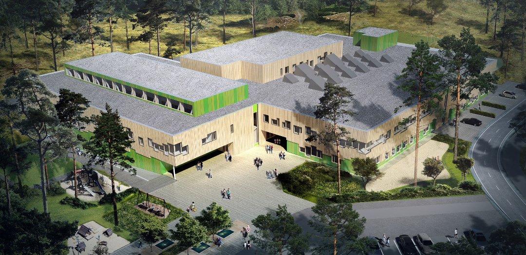 Skisse for nye Rustad skole.
