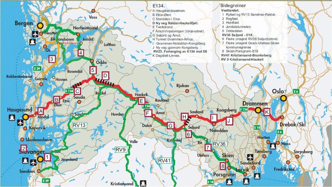 kart over røldal Haugesunds Avis   E 134: Nye tuneller først, så arm til Bergen kart over røldal