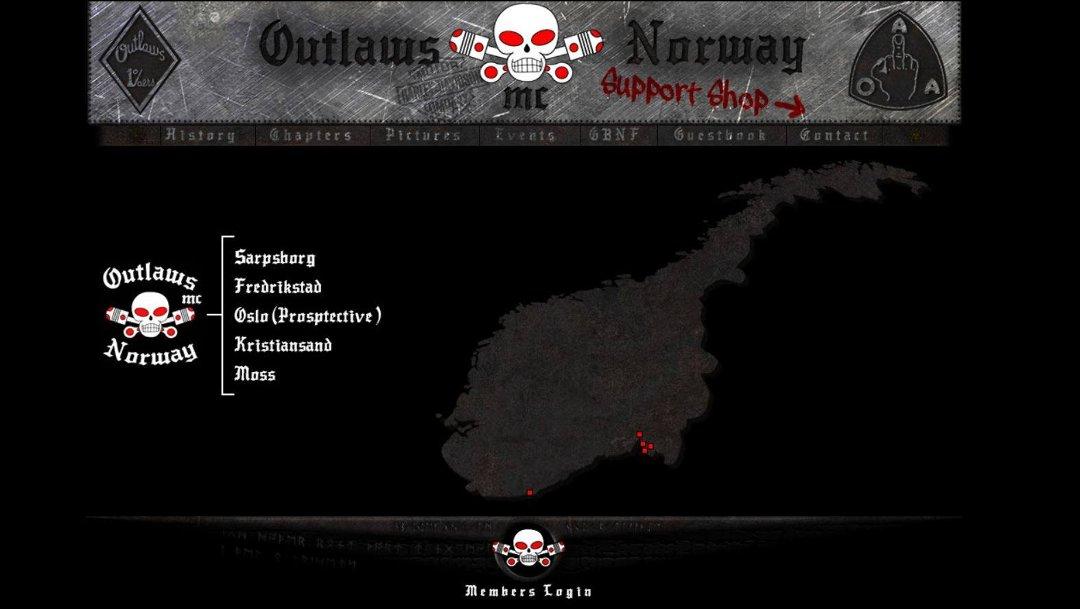 Skjermdump fra Outlaws' nettsider.