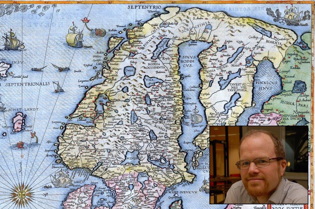 historiske kart Nordlys   Det historiske kartet viser monstre langs kysten:   Jo