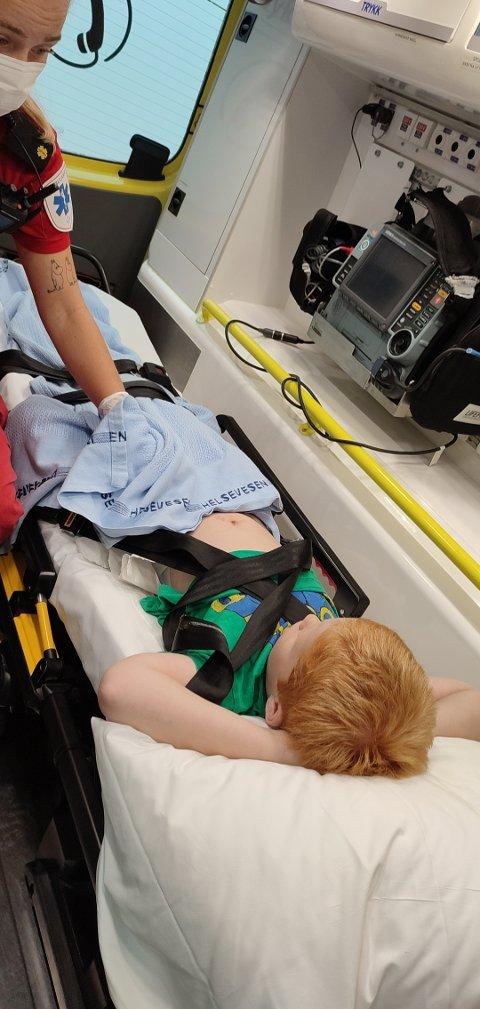 LEIF ISAK DYRLAND-HOLTAN (7): måtte kjøres med ambulanse til Sykehuset Telemark etter sykkelulykke sist fredag.