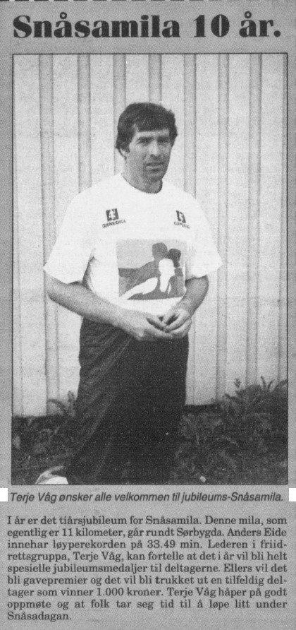 Snåsamila var fra oppstarten i 1988 et meget populært mosjonsløp i Snåsa.