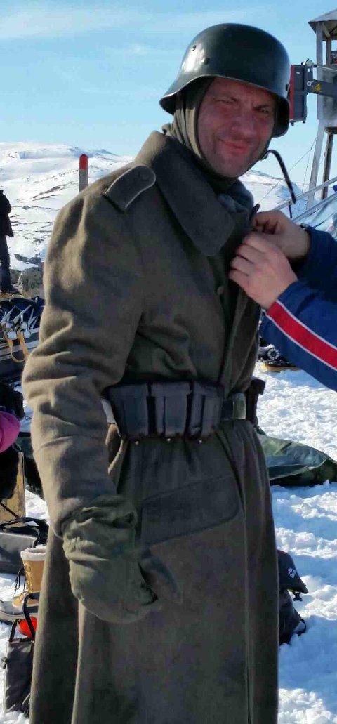"SOLDAT: Geir Gulbrandsen spiller tysk soldat i filmen ""Den 12. mann""."
