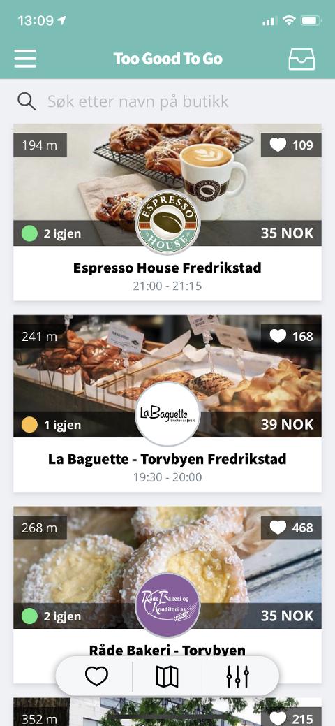 REDUSERER SVINN: I appen Too Good to Go kan du kjøpe mat som står i fare for å bli kastet for en billig penge.