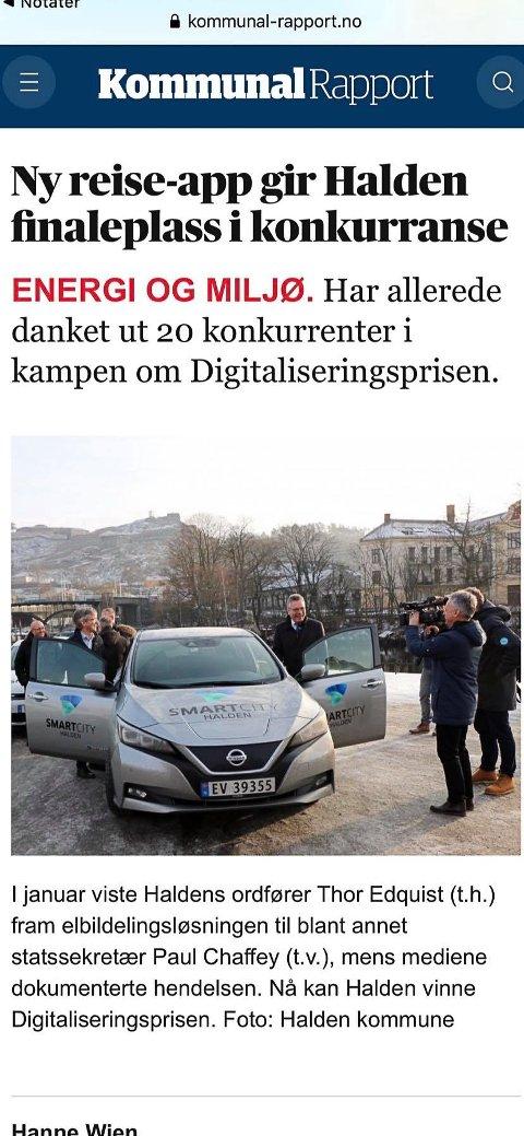 FINALEPLASS: Reise-appen som kombinerer tog og elbil, ga Halden kommune finaleplass til Digitaliseringsprisen.