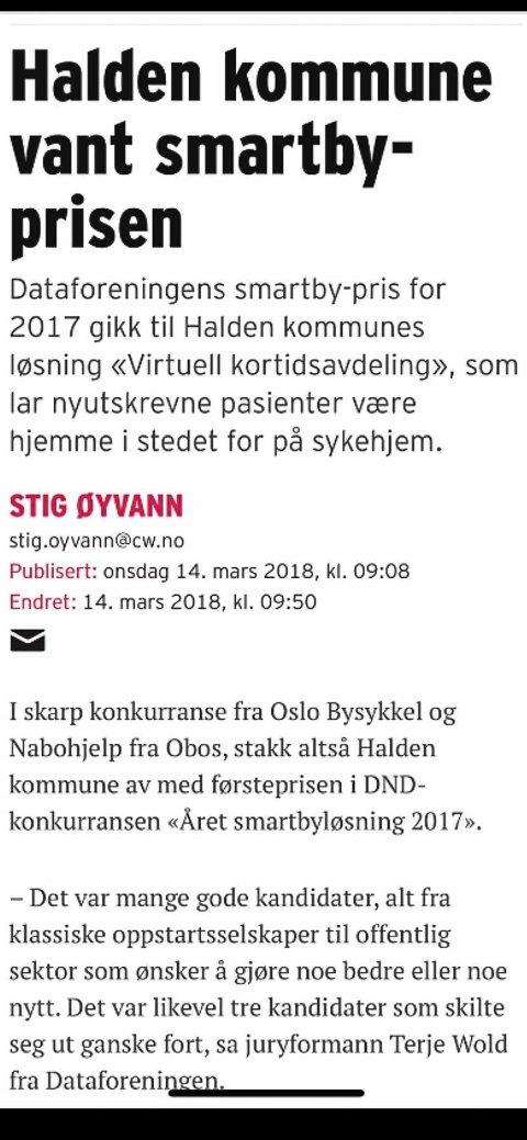SMART LØSNING: Thor Edquist (H) har flere eksempler på at Halden fikk nasjonal og internasjonal oppmerksomhet i media på grunn av kommunens måte å drifte på da han var ordfører fra 2011 til 2019. Edquist etterlyser engasjement fra dagens posisjon for å få tilsvarende publisitet.