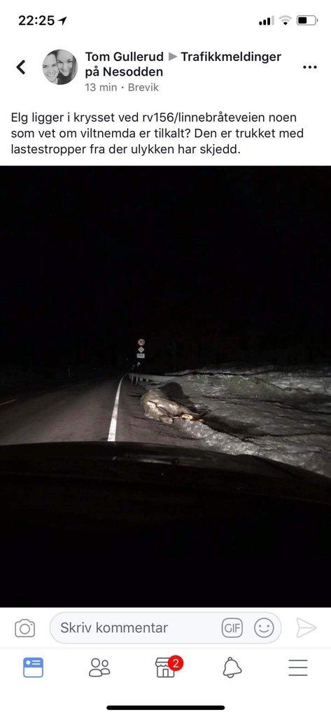 Skjermdump fra Facebook-gruppa Trafikkmeldinger på Nesodden onsdag kveld.
