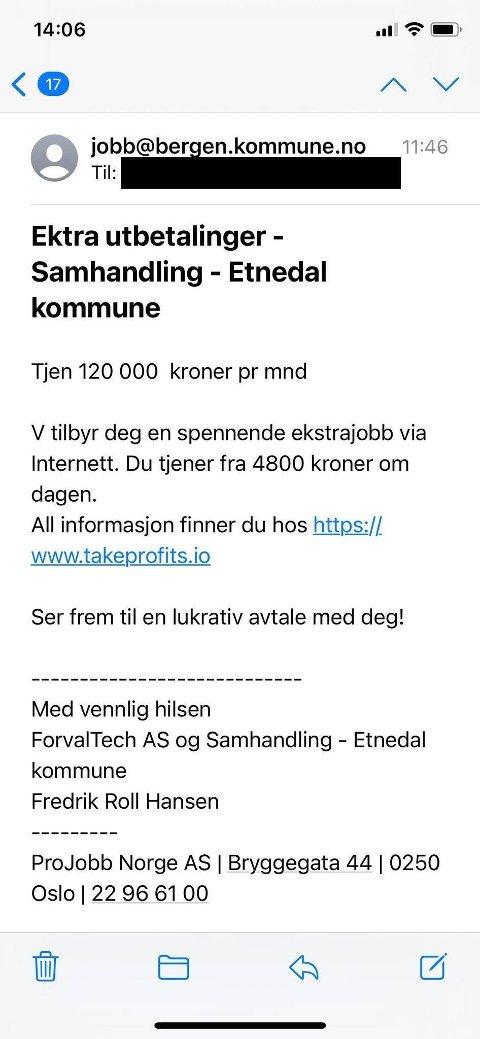 Etnedal kommune: Slik ser e-posten ut, der noen forsøker å svindle til seg penger.