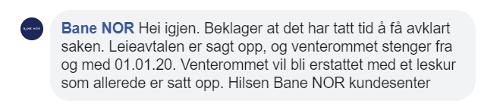 Denne kommentaren skrev Bane NOR om venterommet på Tynset. Screenshot www.facebook.com