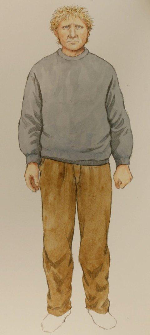 Ikke skjegg: Lågendalsmannen har ikke skjegg på tegningen. Det hadde tiltalte to dager etter drapsdagen 5. august. Hvor lenge det hadde grodd blir trolig et stridsspørsmål senere i rettsaken.