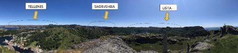 VIND-PANORAMA: Panoramabilde fra kystbatteriet på Hågåsen kystbatteri på Hidra viser et sted der man vil se tre vindparker på noen kilometers avstand. Visualisering: Anne H. Simonsen, Meventus AS.