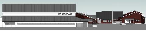 KVINLOGHALLEN: Den nye Kvinloghallen (hvit) sett fra sør ved Kvinlog skule slik den foreløpig ser ut på skisser fra Kristiansen & Selmer-Olsen