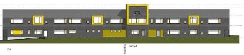 Vestvendt: Dette er skissen av fasaden på det nye bygget. Det skal ligge slik mot Trosvik barnehage.