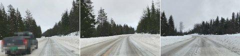 ISETE OG GLATT: Det var glatt og isete på riksveg 3 fredag formiddag. Til tross for at trafikken gikk generelt mye saktere enn fartsgrensen, valgte noen å kjøre forbi og holde en høyere hastighet enn forankjørende.