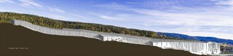 LANGSTRAKT: Illustrasjonen viser skihallens fasade mot vest (E6). Ill.: Halvorsen & Reise AS