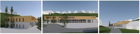 Foreløpig skisseprosjekt for nytt nødetatbygg i Flekkefjord laget av SH arkitekter AS.
