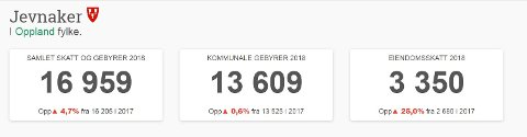 DYREST: Jevnaker kommune har den høyeste eiendomsskatten, som drar kommunen til topps når det gjelder skatter og avgifter på Hadeland.
