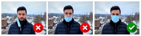 Ikke sånn, ikke sånn, men sånn: Assisterende kommuneoverlege Hooman Konar viser feil og rett bruk av munnbind.