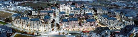 URBANT: Den nye bydelen på Fornebu skal gi plass til 700 boliger – med bymessig urban bebyggelse ut mot Forneburingen, og nedtrapping og åpning opp mot Nansenparken bak. Etasjene på gateplan skal fylles med handel og service.