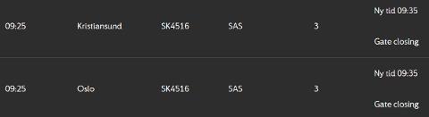SK4516 fra Molde til Oslo drar innom Kristiansund onsdag formiddag.