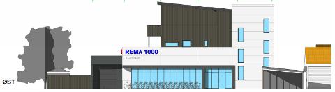 Slik ser utbyggjar føre seg nybygg med bustader og Rema 1000 på Statoiltomta på Varhaug.