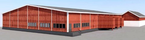 NYBYGG: Tilbygget til dagens driftsbygning på Førstad skal etter planen bli på 1.500 kvadratmeter. (Illustrasjon: Hotvedt Eiendomsutvikling)