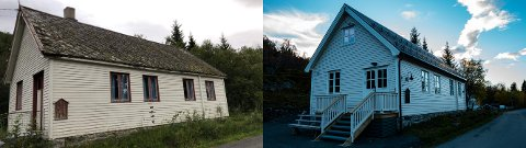 STOR JOBB: Familien Aronsen har gjort et stort stykke arbeid med Vik forsamlingshus. Bildet viser før og etter.