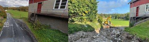 Før og nå. Fv1140 på Hvaler går her inn gjennom et gårdstun på Svanekil gård. Eierne og Hvaler kommune vil at veien skal trekkes ut langs jordet til høyre. Viken fylkeskommune, som eier veien, sier nei. Nå skal veien utbedres, med ny drenering og ny asfalt.