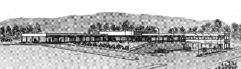 STARTEN: Slik såg Husnes Butikksenter ut i 1967. Knapt til å kjenna igjen. Bensinstasjonen til høgre er parkeringshus i dag.