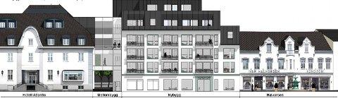 FELLES PROSJEKT: Hotel Atlantics og Hjertnes Eiendoms nye ansikt mot gata. (Illustrasjon: Apir Arkitekter)