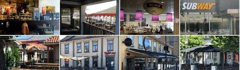 Dette er bare åtte av de 13 spisestedene i Kongsberg som har fått smilefjes av Mattilsynet ved tre eller flere tilsyn.