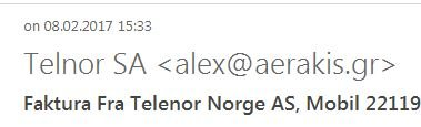 """SE ETTER TEGN: Fakturaen som dumpet ned i Budstikkas e-postkasse så proff ut, den. Men """"Telnor"""" er ikke en bedrift vi har tro på. Og ikke den greske avsenderadressen heller."""