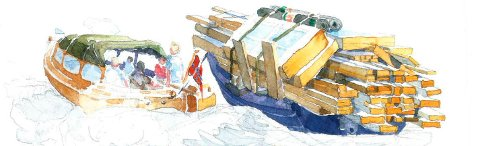 Fra den tidlige hyttebyggingen på Hvaler. Tilgjengelige materialer ble fraktet sjøveien. Svein R. Karlsens tegninge preger forsiden på hytteforeningens bok «Hytta på Hvaler – Drømmen som ble virkelighet».