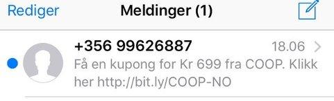 IKKE ÅPNE DENNE: Her er SMS-en som Coop advarer sine kunder mot å åpne.