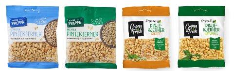 TILBAKEKALLER PINJEKJERNER: Etter funn av peanøtter i disse pakkene, ber produsenten folk om laste pakkene eller levere dem tilbake til butikken.