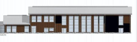 FASADE: Slik er fasaden mot sør på Natrudstilen flerbrukshall. Tegning: Green Advisers AS