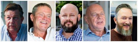 OPPOSISJONEN: F.v. Fredrik Haaning (H), Ulf Erik Knudsen (Frp), Anders Lunde (NTB), Trond Johansen (KrF), Jørgen Harboe Wilhelmsen (R)