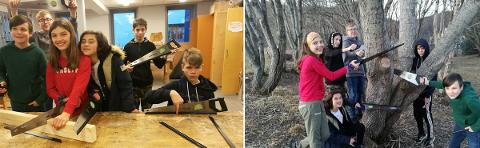 Åttendeklassingene i valgfag arbeidsliv ved Svarholt skole.