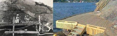 Til venstre ses brygga som lå på eiendommen rundt 1940. Til høyre ses dagens brygge, etter renovering. I morgen skal saken opp politisk. Foto: Fra postlistene/privat