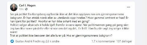 Utspillet fra Carl I. Hagen på Facebook onsdag kveld fikk mange til å reagere.
