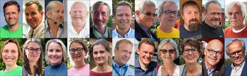 Bildet viser listetoppene til valget i fjor høst. De fleste av dem ble valgt inn i kommunestyrene og er representert i vår oversikt.  Øverst fra venstre: Andreas Ensrud (Sp), Arvid Udo de Haes (MDG), Bård Brørby (SV), Geir Olsen (H), Harald Antonsen (Sp), Harald Tyrdal (Ap), Harald Westby (H), Helge Tryggeseth (MDG), John Bisgaard (Frp), Jul Tore Kittelsrud (Frp) og Trond Myhre (Frp).  Nederst fra venstre: Karina Elise Ødegård (MDG), Liv Kristin Lyngstad (SV), Line Jorung (H), Mari Svenbalrud (SV), Victoria Gaarder (Rødt), Morten Lafton (Ap), Pål-Arne Oulie (Sp), Randi Eek Thorsen (Ap), Tone Elisabeth Andersen (V), Ulf Rogneby (V) og Willy Westhagen (GBL).