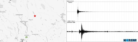JORDSKJELV: Søndag morgen ble Hedmark rystet av et jordskjelv. Episenteret lå rundt 20 km øst for Rena. Kart / grafikk: Norsar