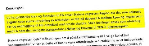 KONKLUSJON: Utdrag fra brevet fra Statens vegvesen.