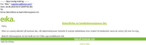 SVINDEL: Slik kan den falske eposten se ut. Den er ikke sendt fra Eika, advarer Odal sparebank.