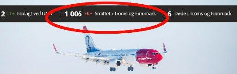 PASSERT 1000: På årets siste dag passerte Troms og Finnmark 1000 smttetilfeller totalt. Et par av dem kom med fly i jula.