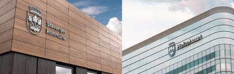 Ny profil: Slik skal kommunevåpenet framstå på kommunale bygninger i Stavanger i fremtiden.