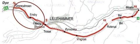 Dette er Nye Veiers prosjekt Moelv-Lillehammer-Øyer. Rød sirkel markerer Storhove-Øyer.